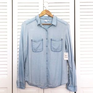 NWT Nordstrom BP Blue Dream Chambray Button Up Top
